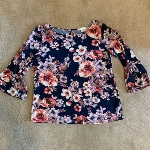 Soft & Stretch Long Sleeve Top L Floral